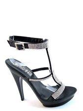 Biondini 7160 Women's Party Dressy Swarovski  Platform Sandal High Heel