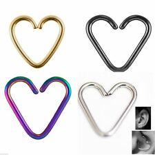 Heart Daith Piercing Steel Cartilage Rook Tragus Helix Ring Bar 16g 10mm