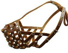 Secure Genuine Leather Mesh Basket Dog Muzzle Golden Retriever Rottweiler