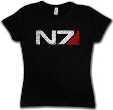 N7 NORMANDY LOGO DAMEN GIRLIE SHIRT  Mass Commander Shepard Cerberus Effect Game