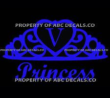 VRS Crown Royal Tiara Queen Princess Heart Love Custom INITIAL V Car Vinyl Decal