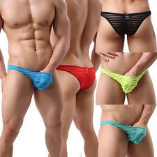 Men's Stripe Underpants Thongs G-string Transparent Briefs Underwear Soft Shorts