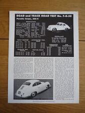 PORSCHE 356  ROAD & TRACK OFFICIAL ROADTEST Brochure  jm