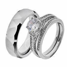His & Hers White Stainless Steel Round CZ Wedding Sets Tungsten Men Band IF