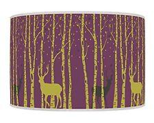 Trees Stag Deer Purple Plum Green Retro Handmade Printed Fabric Lampshade 660