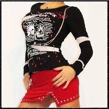 Camicia manica lunga Punk Gothic Irokese teschio catena rete Gothic MAGLIETTA SKULL TRIBAL