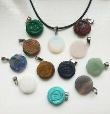Rose Carved Flower Quartz Pendant Necklace Healing Stone Charm Reiki Crystal