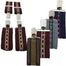 "Mens Extra WIDE Trouser BRACES, Pattern Suspenders Good Metal Clasp 1.5"" width"
