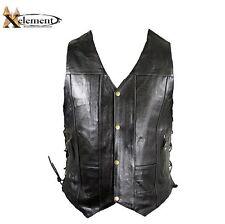 Mens Black 10 Pocket Premium Leather Motorcycle Biker Vest  Sizes