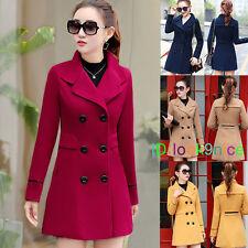 Women's Red Trench Cashmere Slim Winter Warm Coat Long Wool Jacket Outwear