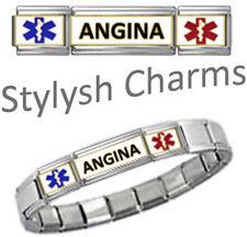 ANGINA MEDICAL ALERT ID 9mm + Italian Charm SILVER TONE MATTE Starter Bracelet