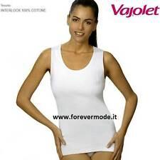 Canotta donna Vajolet spalla larga in cotone felpato con profili raso art 5355