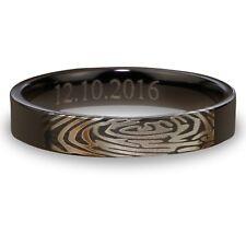 Fingerprint Black Titanium Couple Ring Engagement Men Ring Women Flat Ring 4m