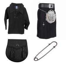New Kids Plain Black 4 Piece Acrylic Kilt Outfit with Kilt Shirt Pin & Sporran