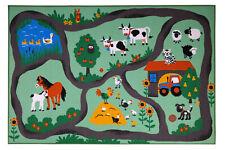 Kinderteppich Straße Farm Bauernhof Straßenteppich Kinderzimmer bunt Tiere weich
