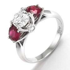 14k White Gold Diamond Three-Stone Ruby Engagement Ring R820.