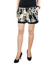 KHUJO Damen kurze Stoff Hose Printhose BETTY Blumen Shorts Sommer schwarz NEU