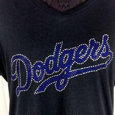 Women's  Los Angeles Dodgers Rhinestone Baseball V-neck T-Shirt Tee Bling Lady
