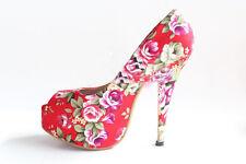 Sandalias Zapatos de salón Plataforma abierto en punta rojo con flores talón