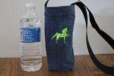 WATER BOTTLE HOLDER CARRIER HORSES  RECYCLED DENIM CROSS BODY STRAP