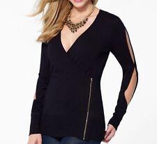 NWT CACHE Sexy Slit Sleeve Stretch Zipper Wrap Top Dress Sweater   XS S  M L XL