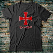 Crusader T-shirt Zeus Vult - Knights Templar cross distressed