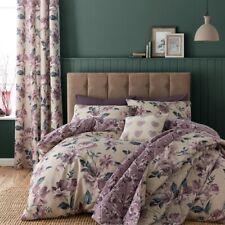 Painted Floral Reversible Duvet Quilt Cover Bedding Set - Plum Purple