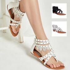 AU FREE SHIP Womens Gladiator Sandals Beach Flip Flops Flat Shoes Black Size
