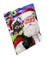 Jolly Old Saint Nick Santa Australian Kelpies Dog Woven Throw Sherpa Blanket T43
