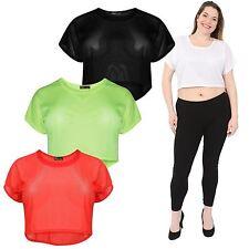 Ladies Neon Coloured Air Tech Plain Sport Vest Tops 8-14