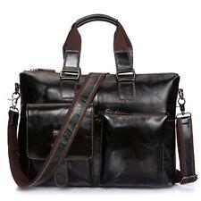New Retro Men's Genuine Leather Shoulder Bag Messenger BriefcaseTravel Bag Black