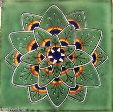 "C271- Mexican Handmade Talavera Clay Tile Folk Art 4x4""  Handpainted"