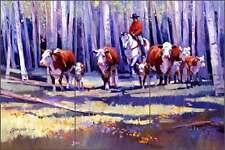 Ceramic Tile Mural Backsplash Senkarik Western Cowboy Cattle Cow Art MSA029
