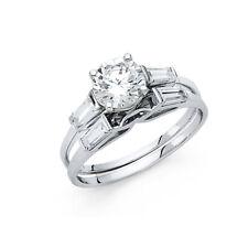 14k White Gold Diamond Solitaire Engagement Ring Set Baguette Wedding Band