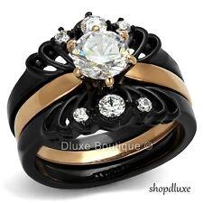 Steel Wedding Ring Set Women'S Size 5-10 1.50 Ct Round Cut Cz Black Stainless