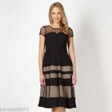New Jasper Conran Black & Beige Chiffon Mesh Panel Dress Sz UK 8