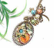 VINTAGE KETTE +++ Motiv Auswahl +++ Halskette Glascabochon Anhänger Perlen
