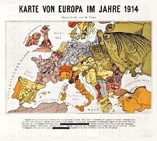 German Map WWI European World War I Map 1914 Reproduction Poster Framed Unframed