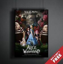 ALICE IN WONDERLAND 2010 MOVIE POSTER A3 A4  Best Tim Burton Fantasy Film Prints