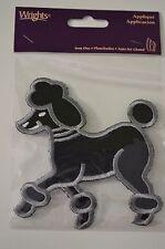 "Applique- Iron On - Black Poodle w/ White & Silver Outline - ~4.5""h x 4""w"