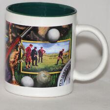 Golf Open Champion Coffee Mug Tea Cup Ceramic Dark Green Inside Club Ball Trophy