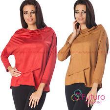 Womens Asymmetric Ruffle Top Cowl Neck Blouse Velvet Pullover Size 8-12 FT2292