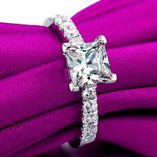 1.30 CTW Princess Cut Diamond Ring Bridal Wedding Engagement White Gold Over