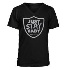 Just Stay Baby - Men's V-Neck T-Shirt - Oakland Raiders