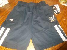 Milwaukee Brewers Shorts Boys pockets  stripe half up leg Adidas NWT sz S M or L