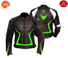 MOTO VESTE EN CUIR cuir noir veste verte revêtement livré avec renfort CE