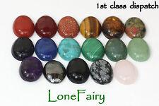 1 x Genuine Gemstone 18 x 13 mm Ovale Piatto Indietro Cabochon Gioielli Perle Lapis