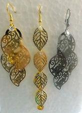Long Dangling Chandelier Drop Leaf Earrings, Gold And Silver Tone