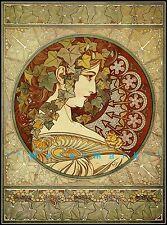 Ivy 1901 Alphonse Mucha Vintage Poster Print Restored Art Nouveau Deco Lady