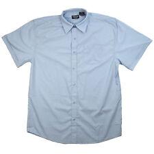 Men's Blue Dress Shirt Broadcloth Button Down Short Sleeves Sizes s - XL